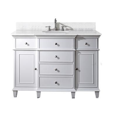 Avanity Windsor 48 Inch Vanity With Carrera White Marble Top And Sink In White Finish White Vanity Bathroom Single Bathroom Vanity Marble Vanity Tops