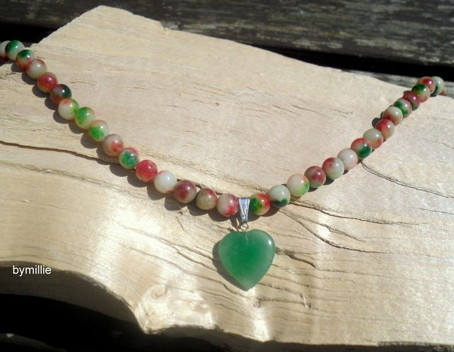 Green aventurine heart pendant necklace, Red and green jade beaded necklace £17.00