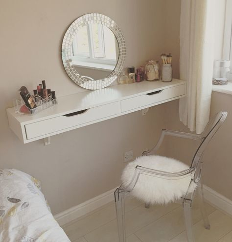 Dressing table ekby wall shelf from ikea with ghost chair to match dressingtable shelving - Table coiffeuse ikea ...