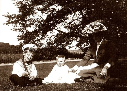 Tsarevich Alexei with cousin and his mother Tsarina Alexandra.
