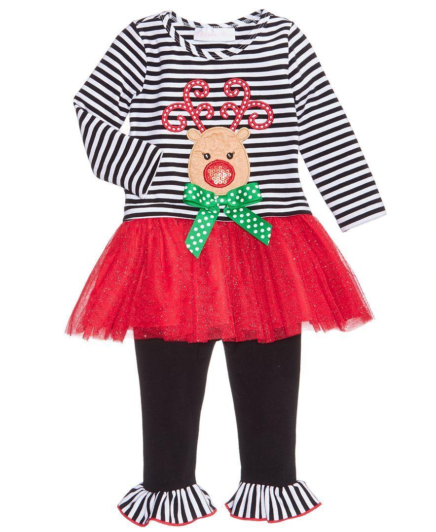 8daa7a7105012 Bonnie Baby 2-Pc. Reindeer Tutu Dress   Leggings Set