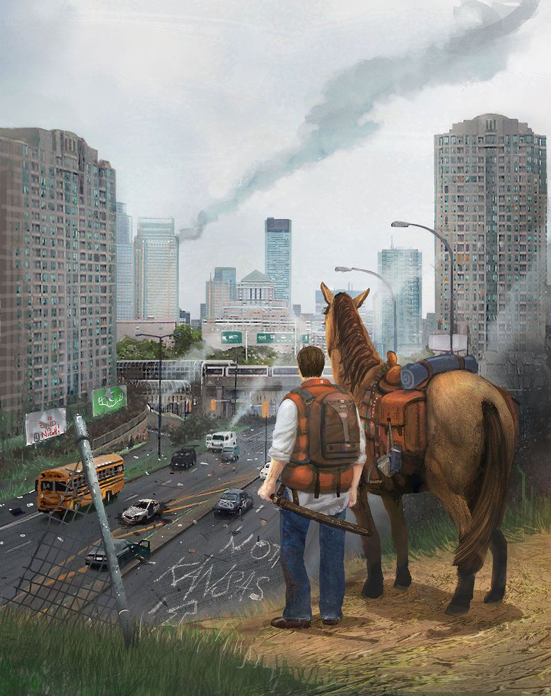 Clayton And Love Interest Looking Into Blazing Atlanta After The Final Battle Of Book 5 And Subseq Post Apocalyptic Art Zombies Apocalypse Art Apocalypse Art