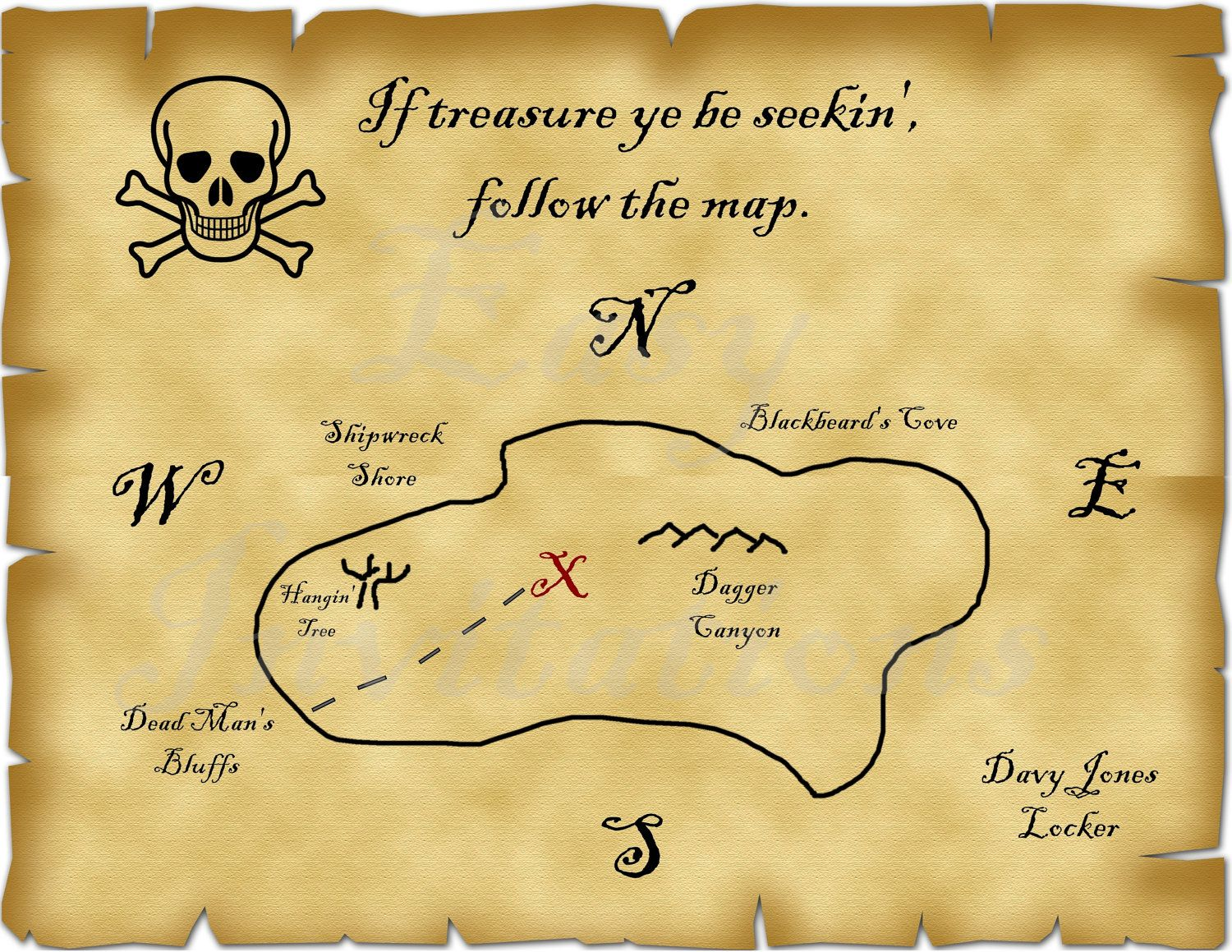 Printable Pirate Treasure Map Best Photos Of Template Blank ...