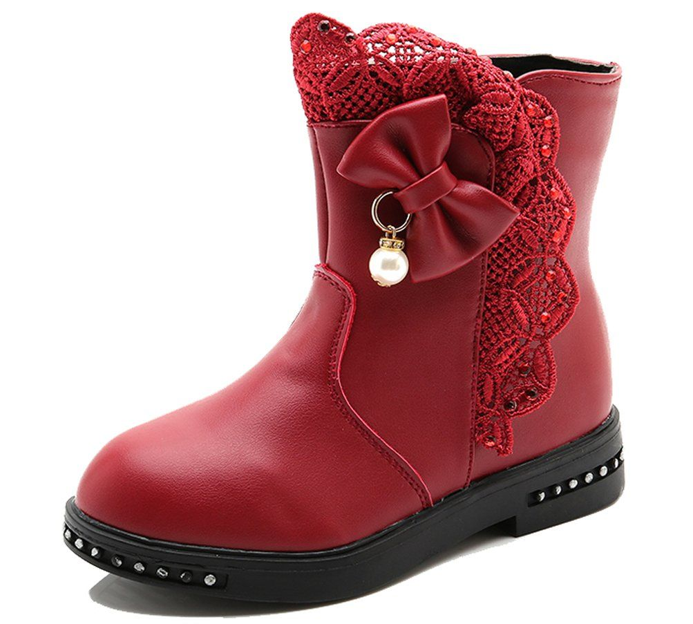 iDuoDuo Girls Cute Lace Bow Pearl Fashion Boot Zipper Dress Short Boots Red 13.5 M US Little Kid. Easy to pull on and off for kids by themselves with side zipper closure. Featuring cute candy colors, sweet lace decoration around and lovely bowknot with pearl side. Waterproof cowhide and synthetic leather and anti-collision toe, provide kids more protection. Breathable and comfortable short fur lining brings kids better wearing experience. Natural rubber sole with texture, soft, durable…