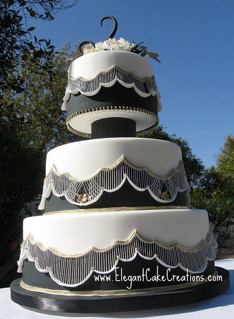 Black & White Lace Wedding Cake by Elegant Cake Creations AZ, via Flickr