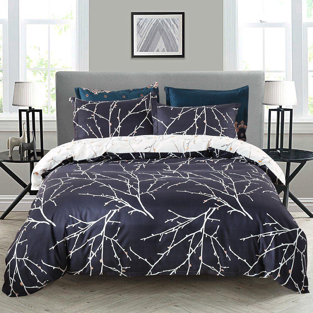 Duvet Cover Set Navy Blue Tree Bedding Branches Printed Beige Reversible Design Queen