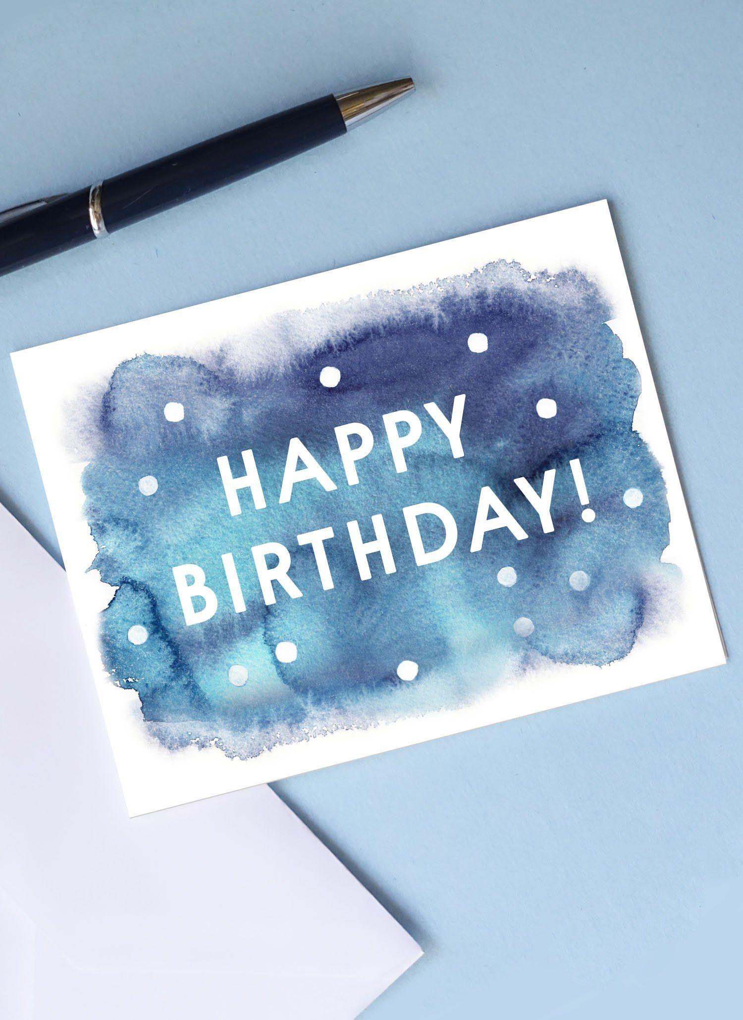 PRINTABLE HAPPY BIRTHDAY Card Envelope Watercolor Polka