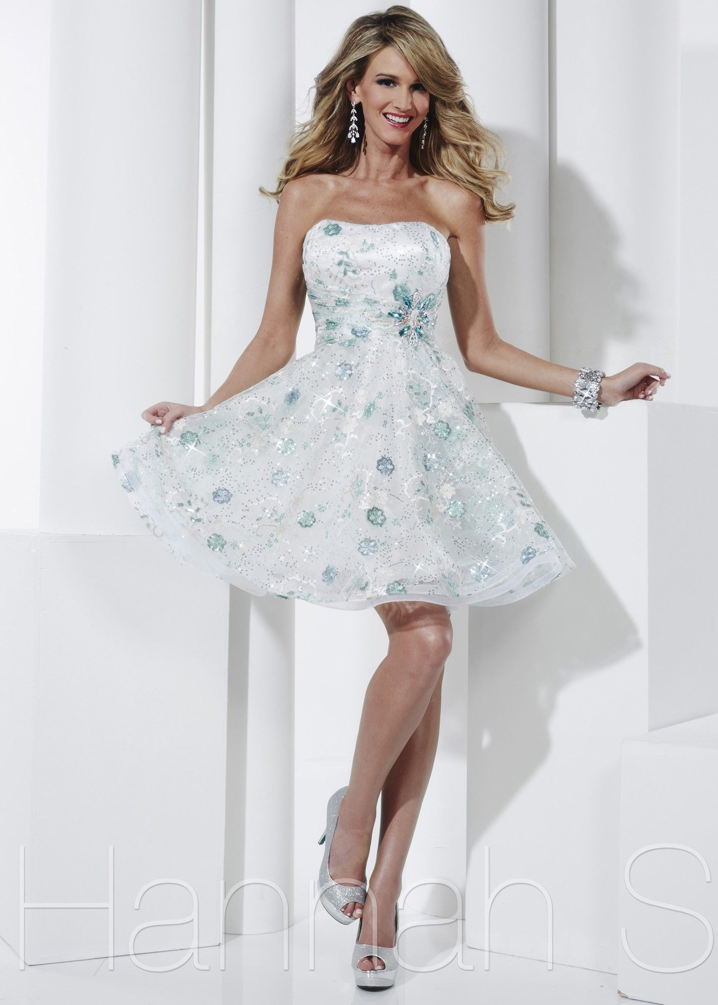c5ee4b74db842 Adorable White and Mint Beaded Graduation Dress - Short Prom Dresses - Hannah  S 27833 - RissyRoos.com