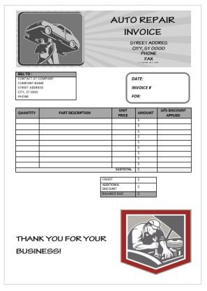Fake Auto Repair Invoice Template  Garage Invoice Template