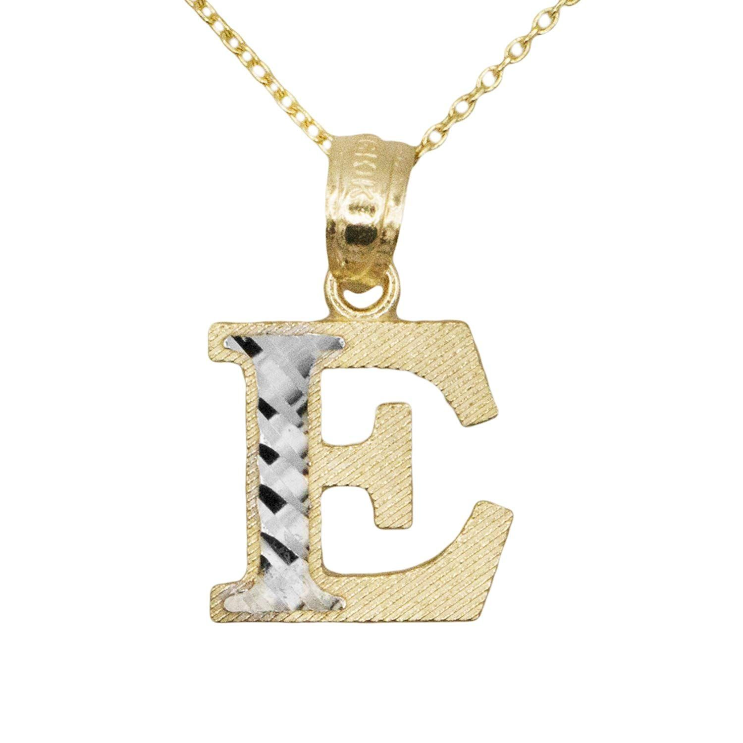 Ice On Fire Jewelry 10k Two Tone Yellow And White Gold Letter E Initial Name Pendant Necklace Thanks A Lot For Having Vie Fire Jewelry Gold Letters Pendant