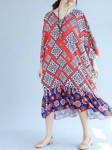 c245df03743c Women Long Sleeve Printed V-Neck Chiffon Loose Dresses