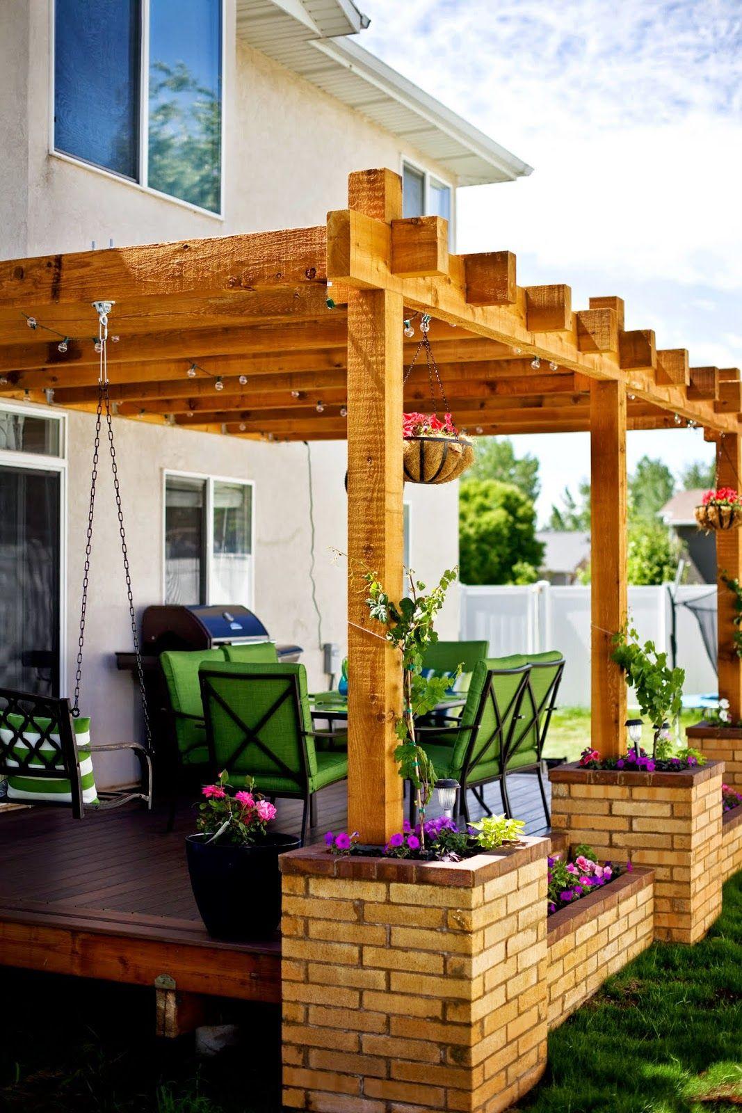 Deck Inspiration Pergola Brick Planters Grape