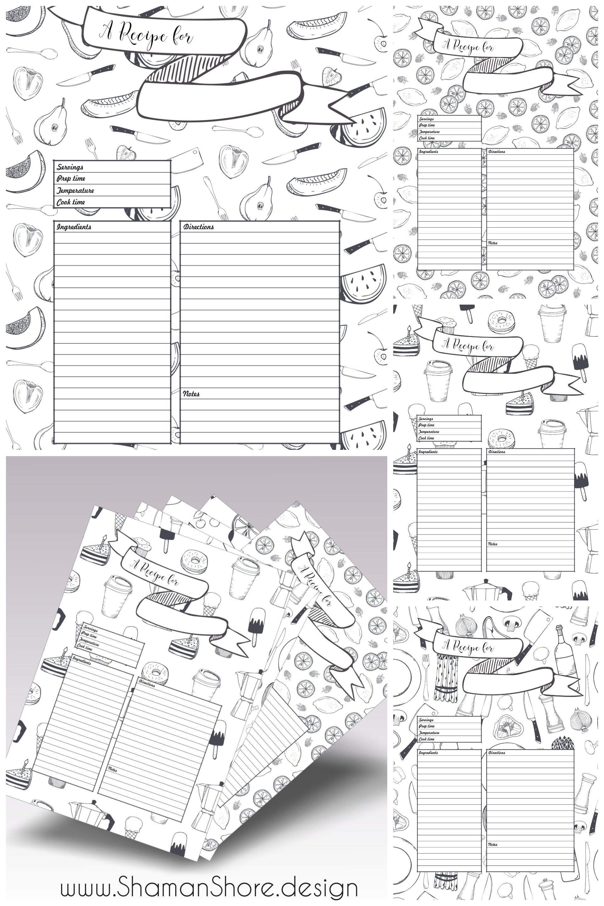 Recipe Template Printable, 10 Recipe Pages, Blank Recipe