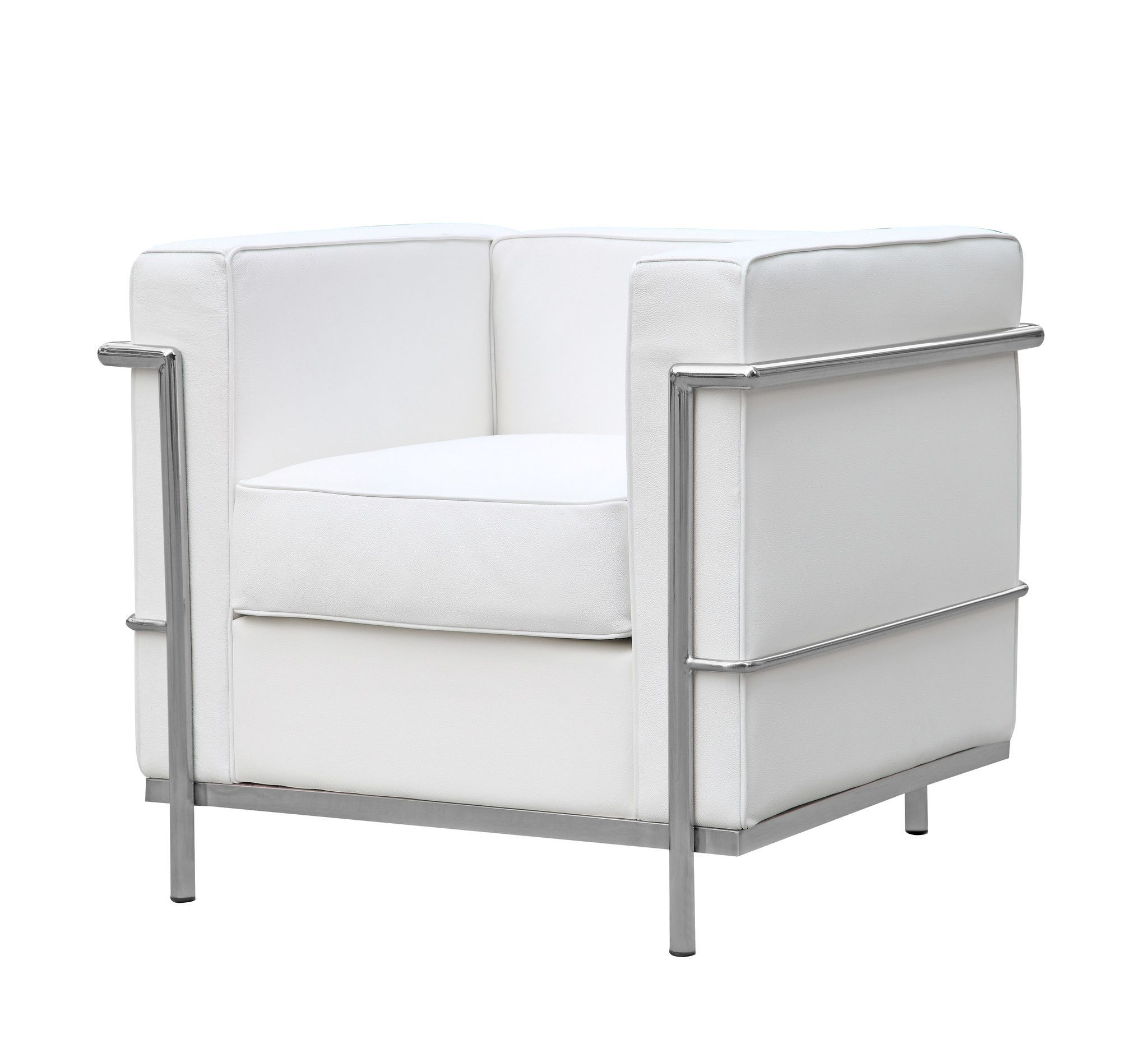 Cube Le Corbusier Lc2 Style Petit Chair White Leather