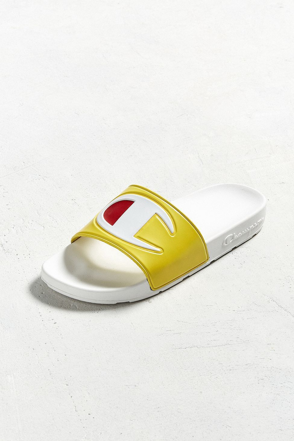 40240d90cee1c Urban Outfitters Champion Big C Logo Slide Sandal - Yellow 10 ...