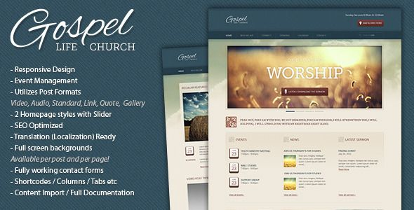 Gospel - Premium Responsive WordPress Theme. I like the layout, but the background images are a little much.