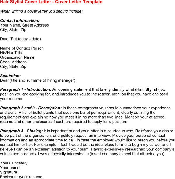 Stylist Assistant Cover Letter | Hair Stylist Cover Letter Sample ...