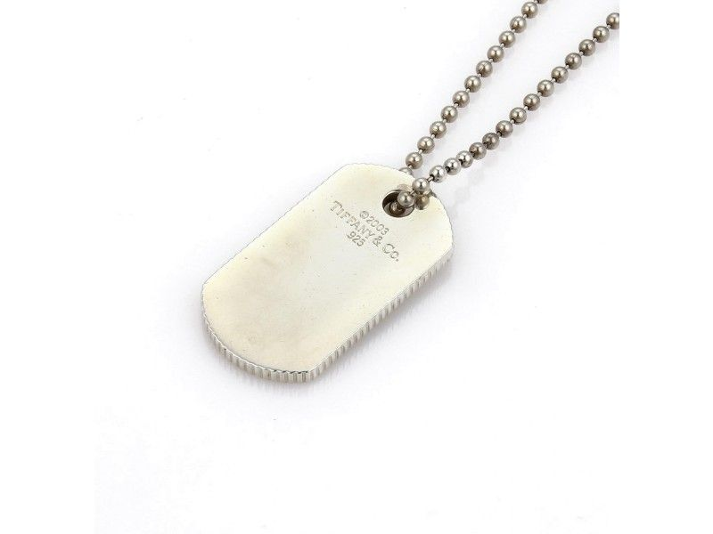 06a42480f Tiffany & Co. 925 Sterling Silver Dog Tag Pendant & Chain Necklace ...