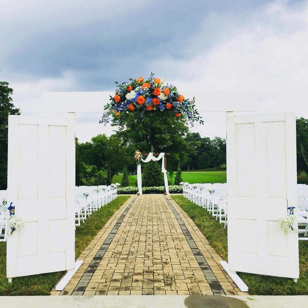 Outdoor Wedding Ceremony Doors: Caroline + Brandon / Real Cincinnati Wedding / Cooper