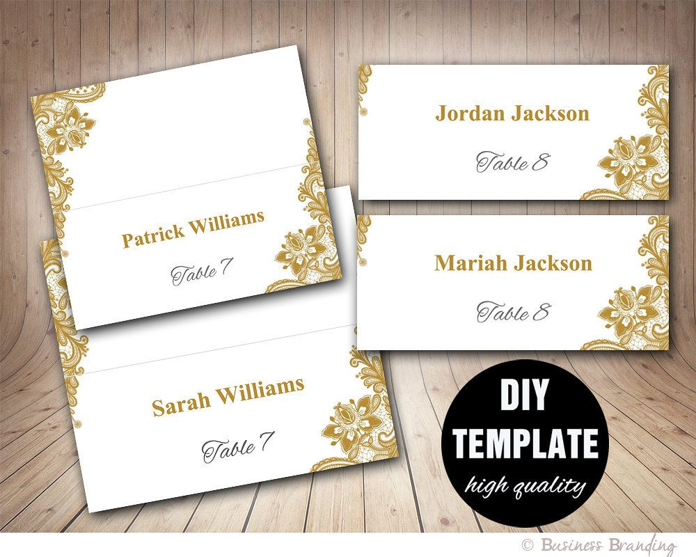 Gold Lace Wedding Place Cards Template Foldover Diy Gold Place Card Instant Download Wedding Place Card Templates Place Card Template Wedding Invitations Diy