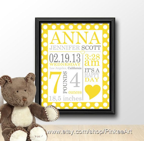 New baby gift, neutral baby birth announcement, baby birth stats ...