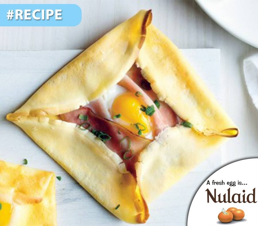 Breakfast never looked so elegant. These crepes are lined with Black Forest ham, with an egg cracked into each. Add a green side salad to turn this dish into a light lunch or dinner. For full Recipe - click here: http://apost.link/2Xe. #Nulaid #brunch #eggs #recipe
