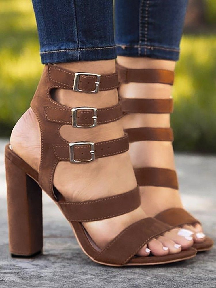 29595543e87 Solid Buckle Strap Chunky Heeled Sandals