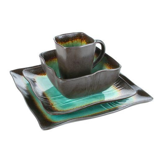 Dinnerware Sets  sc 1 st  Pinterest & Kalorik Earthtone Square 16 Piece Dinnerware Set | Kitchen :p ...