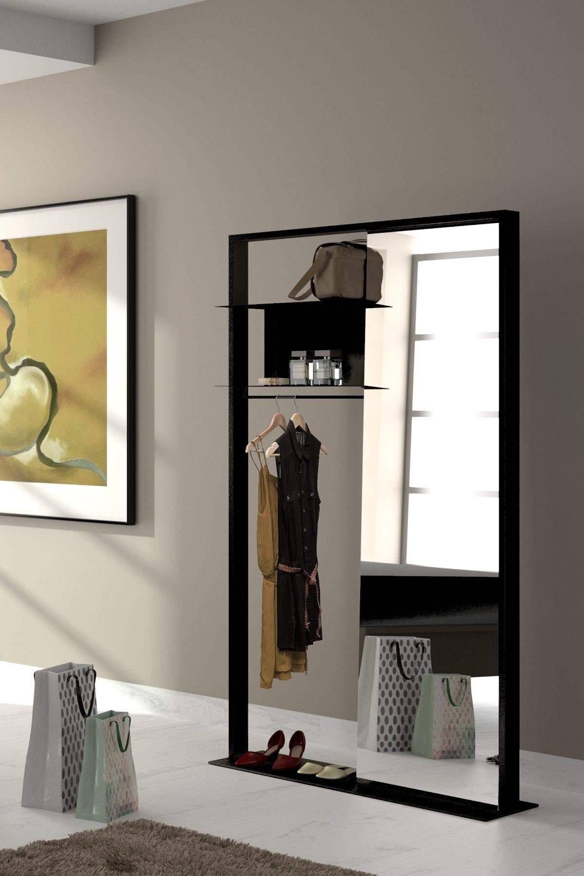 vestiaire portant mtal noir rangement entre couloir