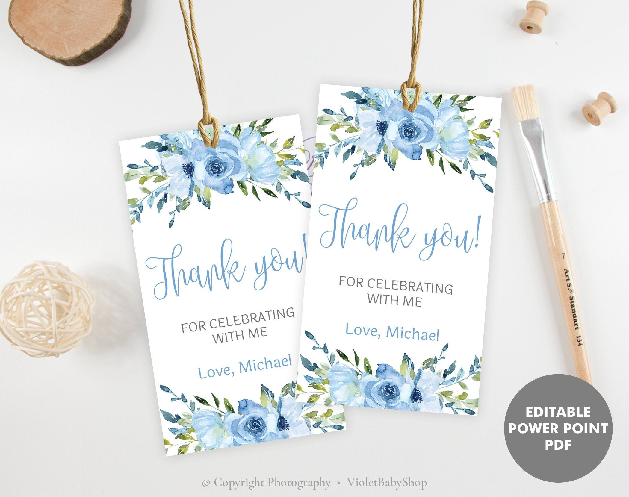 Thank You Card and Favor Tag Bundle Favor Bundle Blue Donut Baby Shower Thank You Card And Favor Tags Templates Baby Shower Thank You