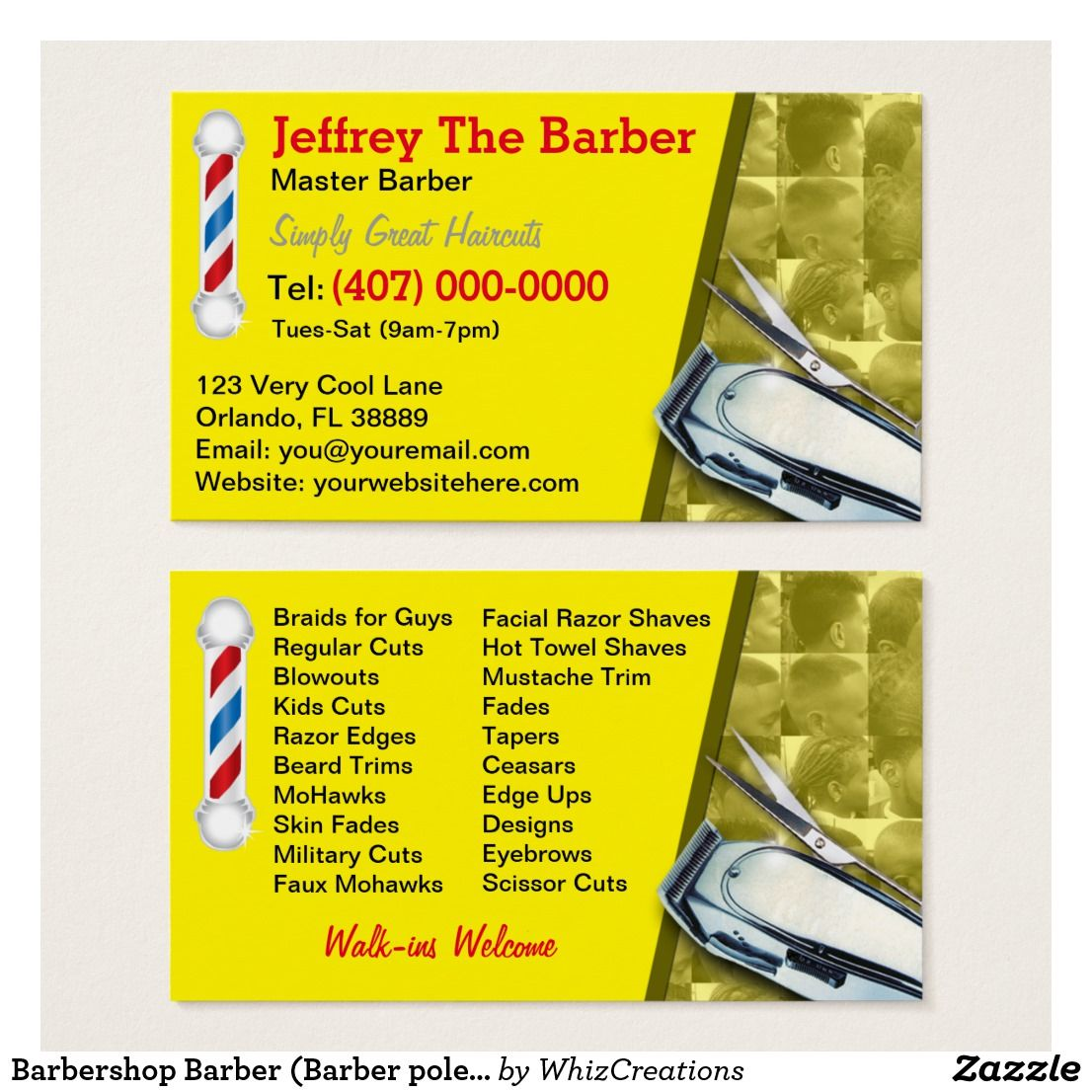 Barber (Barber pole and clippers) Business Card