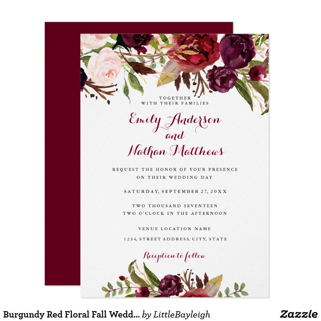 Winter Wedding Invitations Cheap: Burgundy Red Floral Fall Wedding Invitation