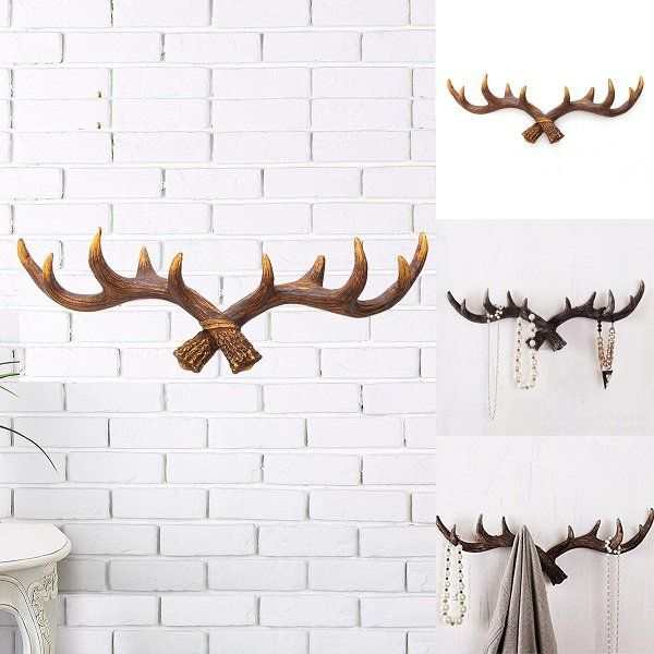 Vintage Deer Antler Hook Rack Home Decorative Wall Hat Coat Hanging ...