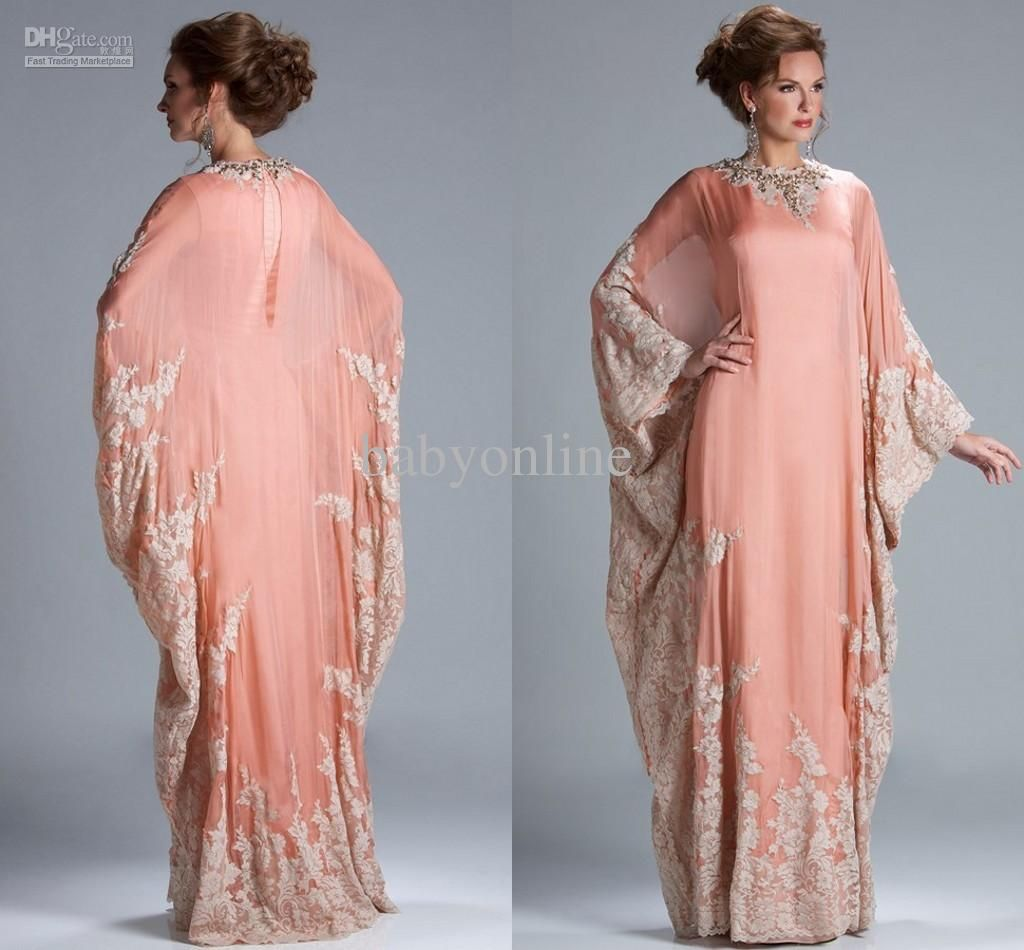 Peach Coral Long Sleeves Jewel Neckline Kaftan Dubai Dress Chiffon ...