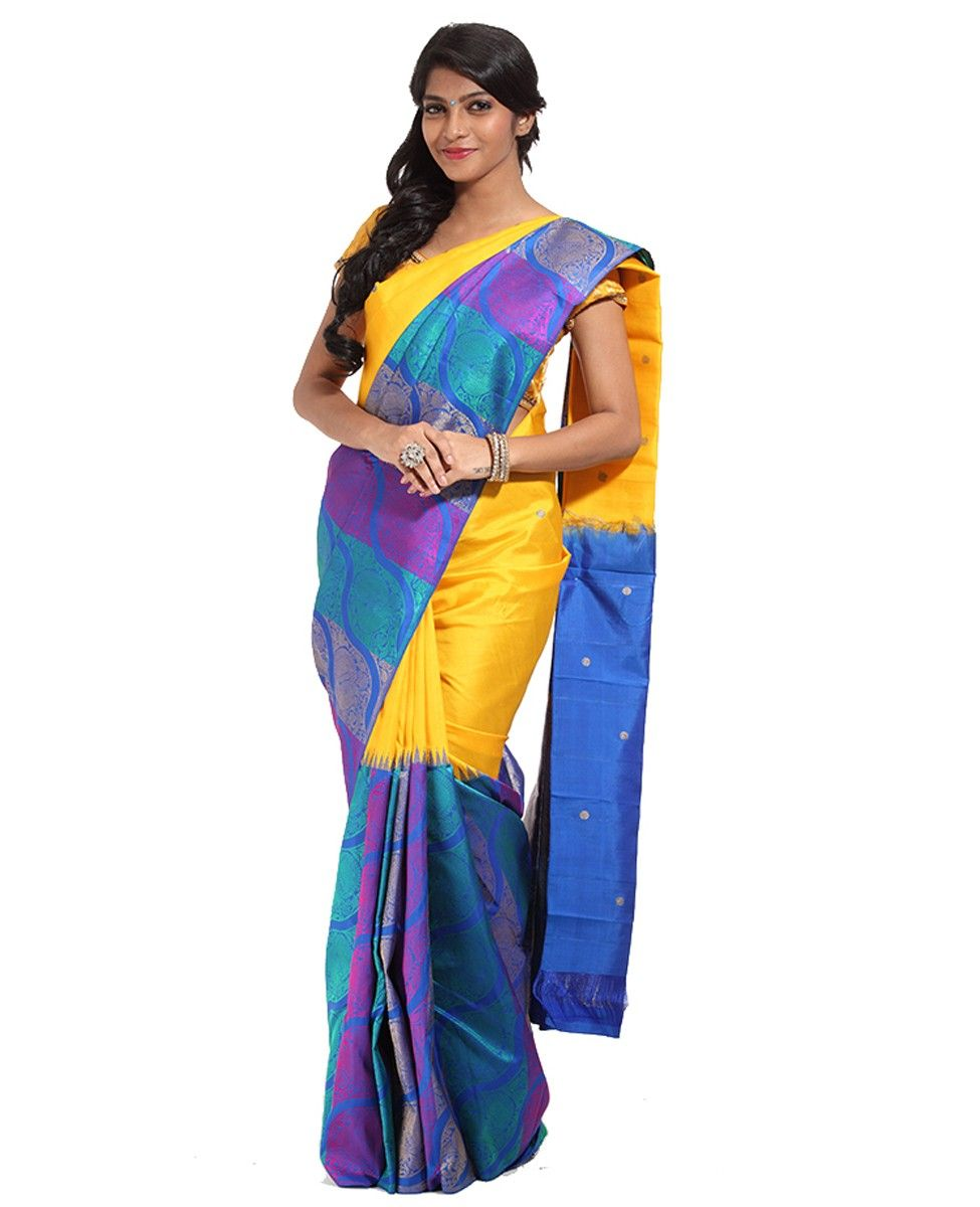 ae7dcc2d4a4b5 Kancheepuram Silk Fabric Multicolored saree. Body is half and half yellow  with embossed butties
