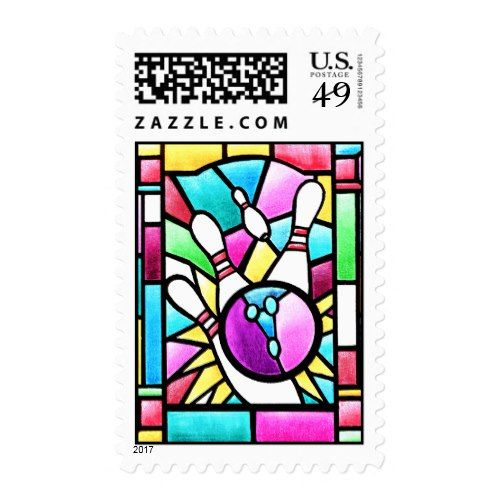 Stained Glass Bowling Postage Popular Christmas Postage Stamps