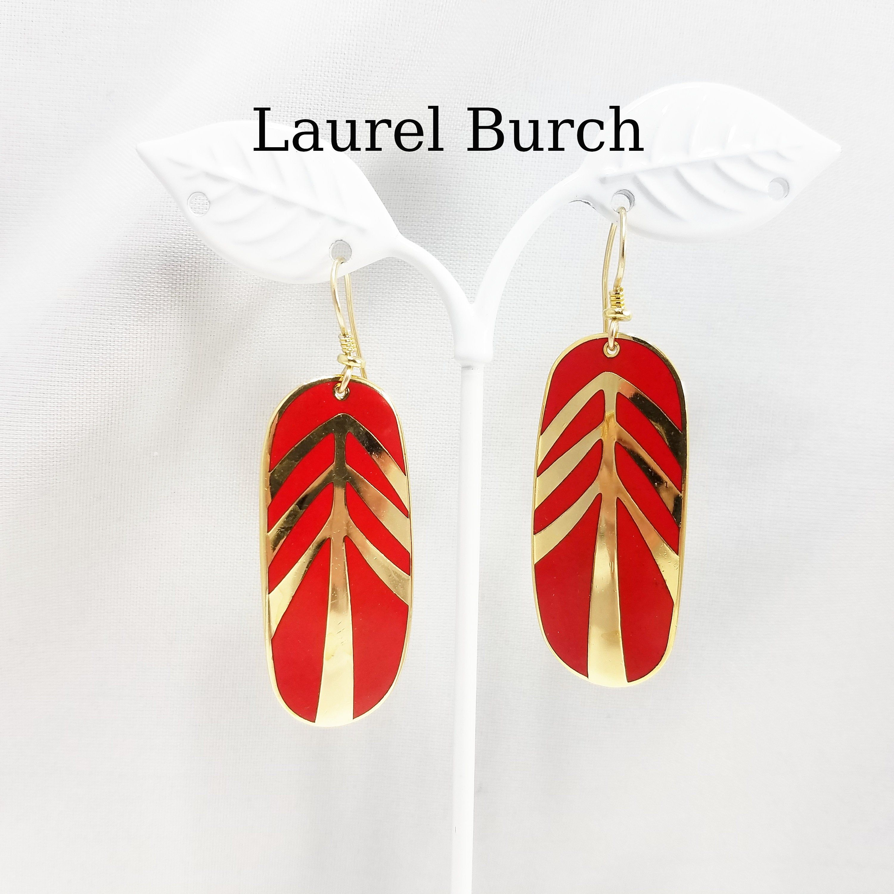 Laurel Burch MOON TIGER Cloisonne Earrings French Ear Wires Vintage Jewelry 1980s Red Gold