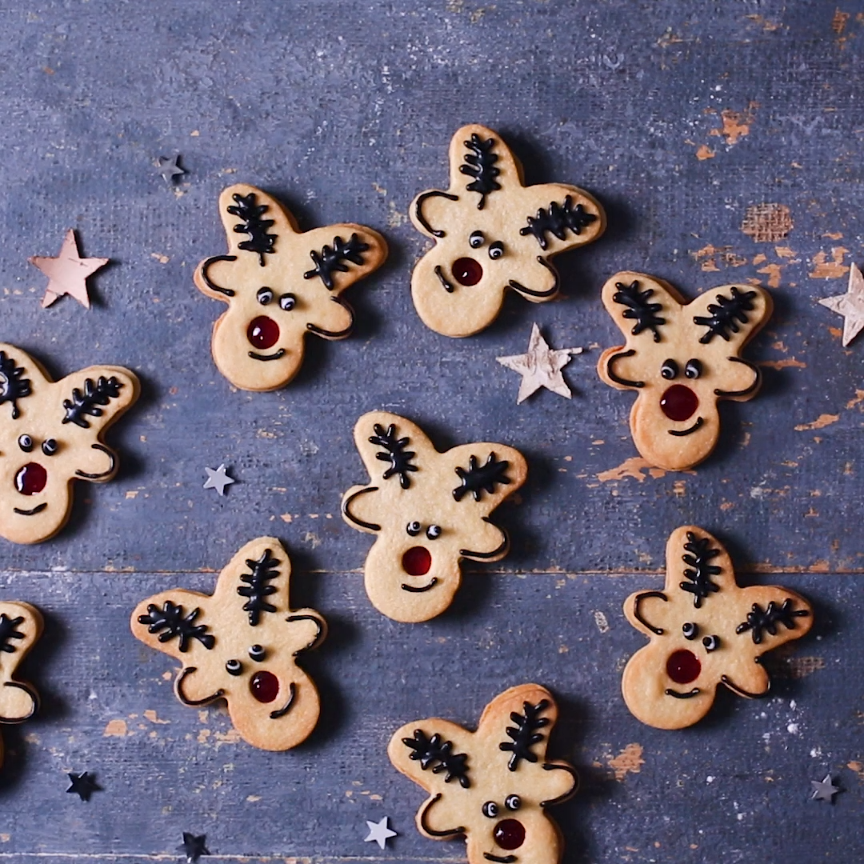 christmas baking Rudolphs shiny red nose makes the perfect jammy dodger for your next Christmas baking session