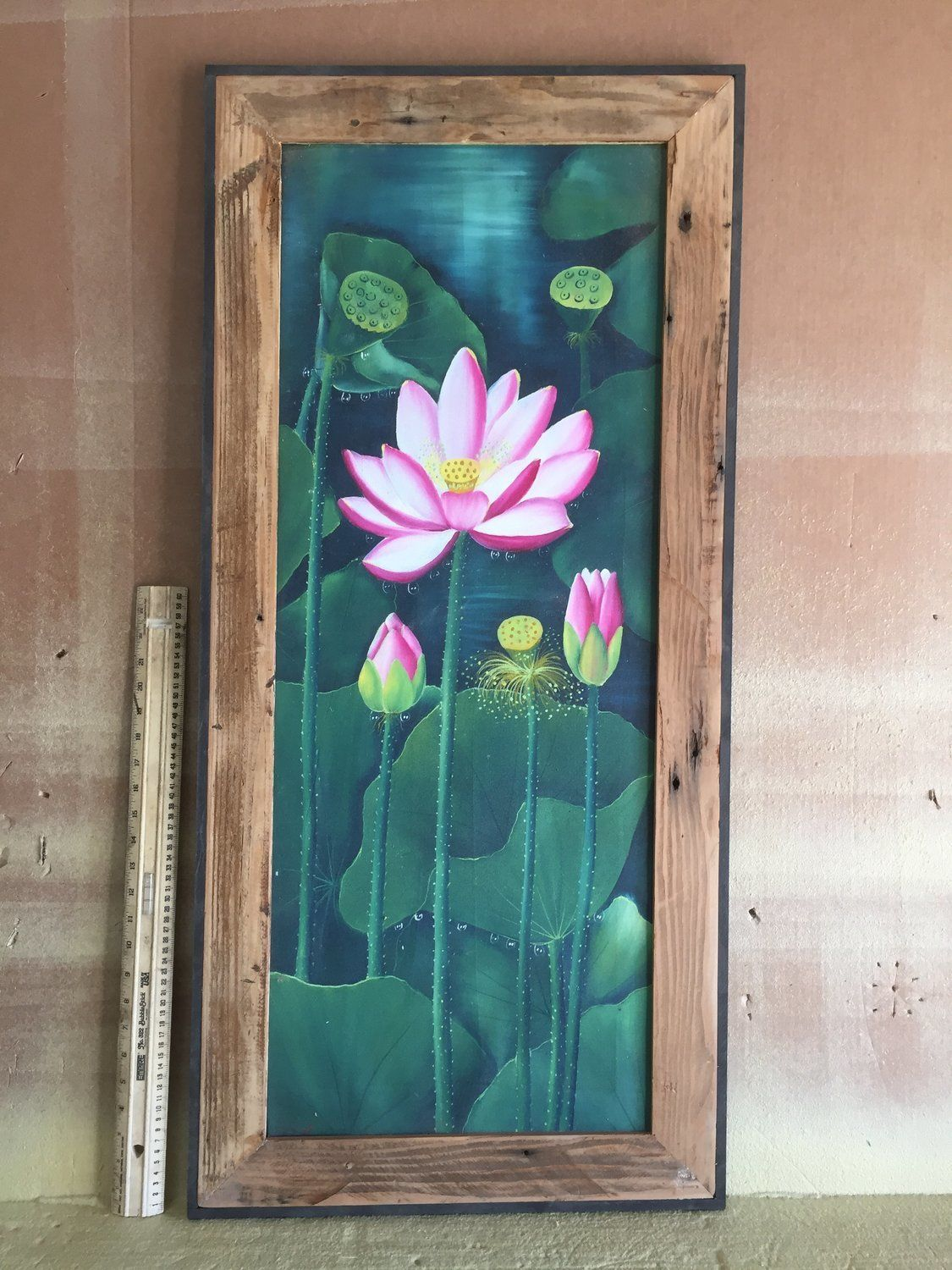 original watercolor matted and framed in distressed black frame Pink Waterlilies in a Sea of Green