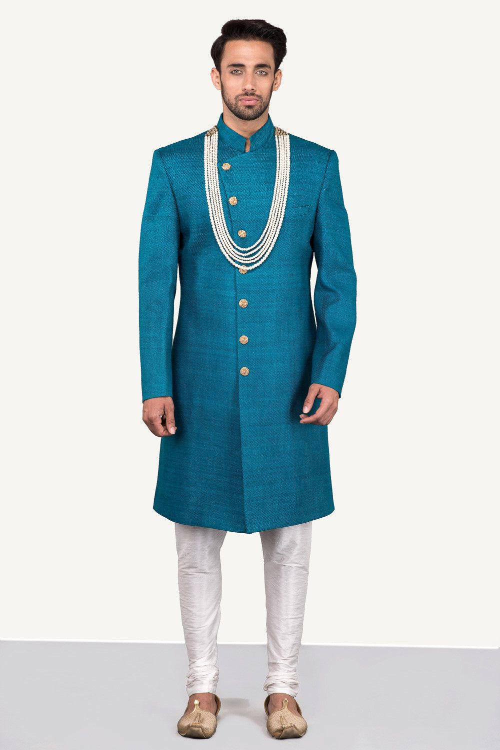 THE STYLE LOFT BY RITU DEORA Teal Blue Cross-Over Sherwani With ...