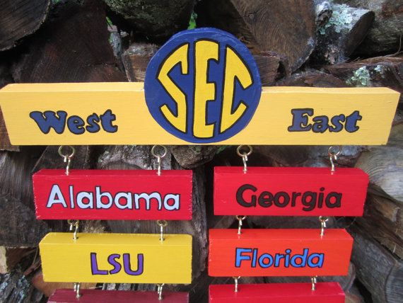 Man Cave Football Signs : Sec football standings college hand painted wood