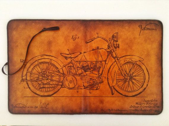Deluxe iPad Leather Case with Stand Harley Davidson Theme Handcrafted by HarrismaLeatherGoods