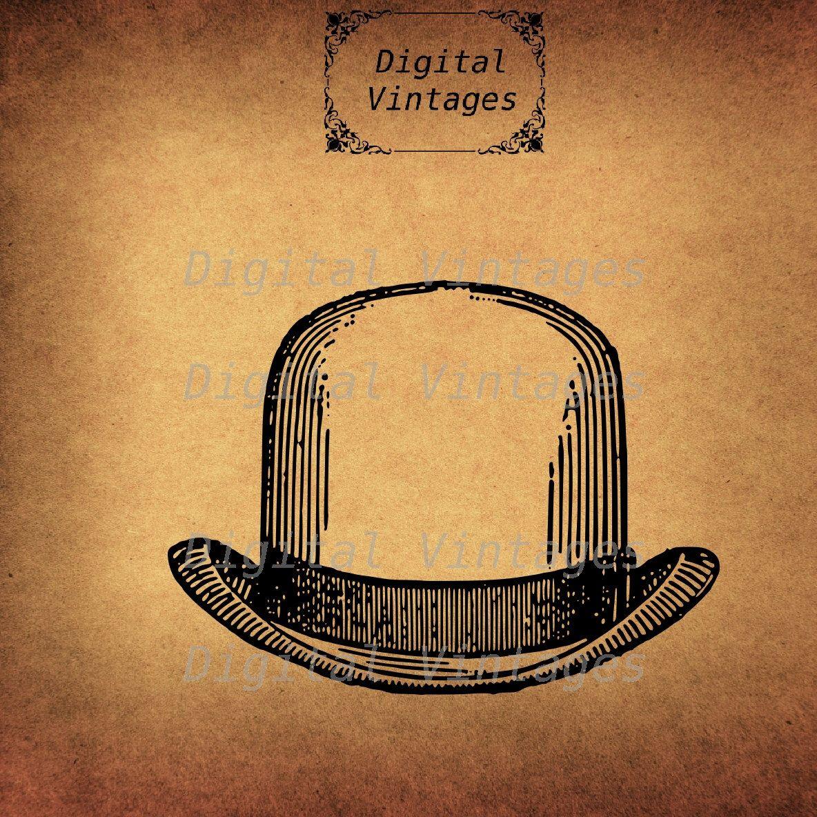 Bowlers Hat Bowler Hats Fancy Illustration Vintage Digital Etsy Art Icon Bowler Hat Clip Art