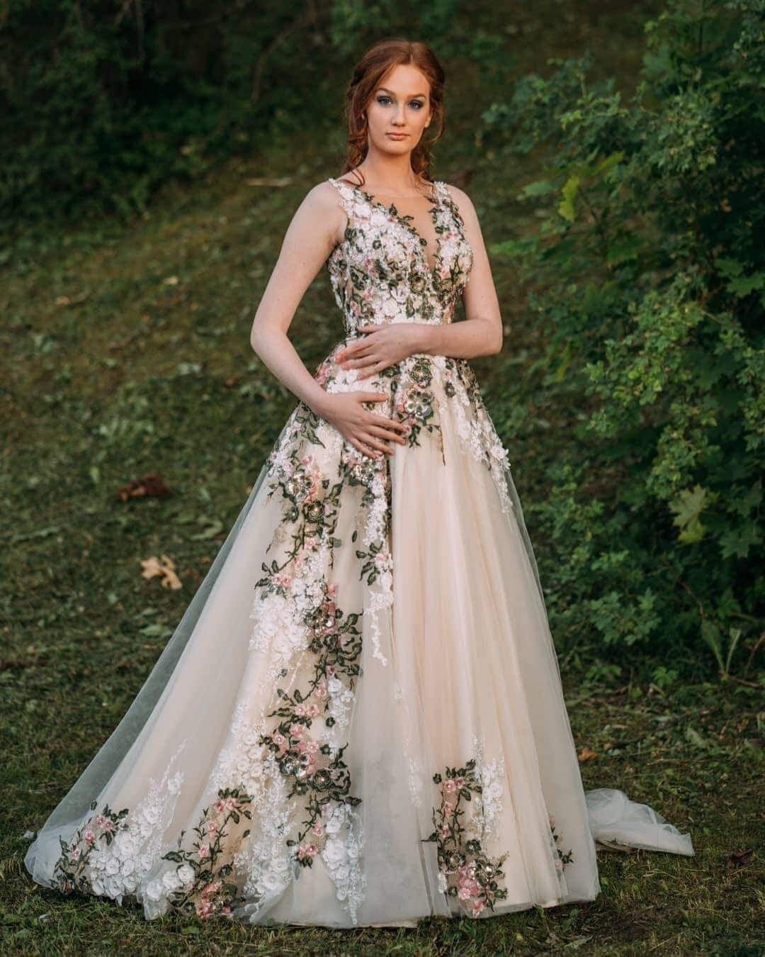 Ivory Floral Forest Wedding Dress Inga Ezergale Design Forest Collection Nature Wedding Dress Forest Wedding Dress Green Wedding Dresses [ 1350 x 1080 Pixel ]