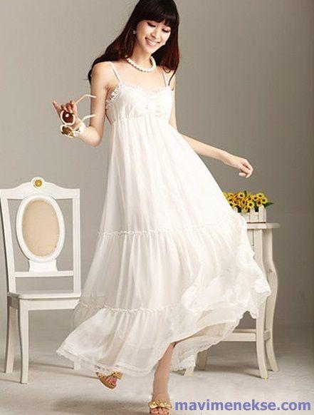 591ccedb2091c Beyaz Uzun Elbise Modelleri | Fashion | Robe maxi longue, Maxi robes ...