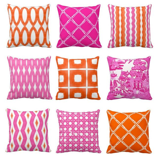 Pink And Orange Throw Pillows At Zazzle Com Thepinkpagoda