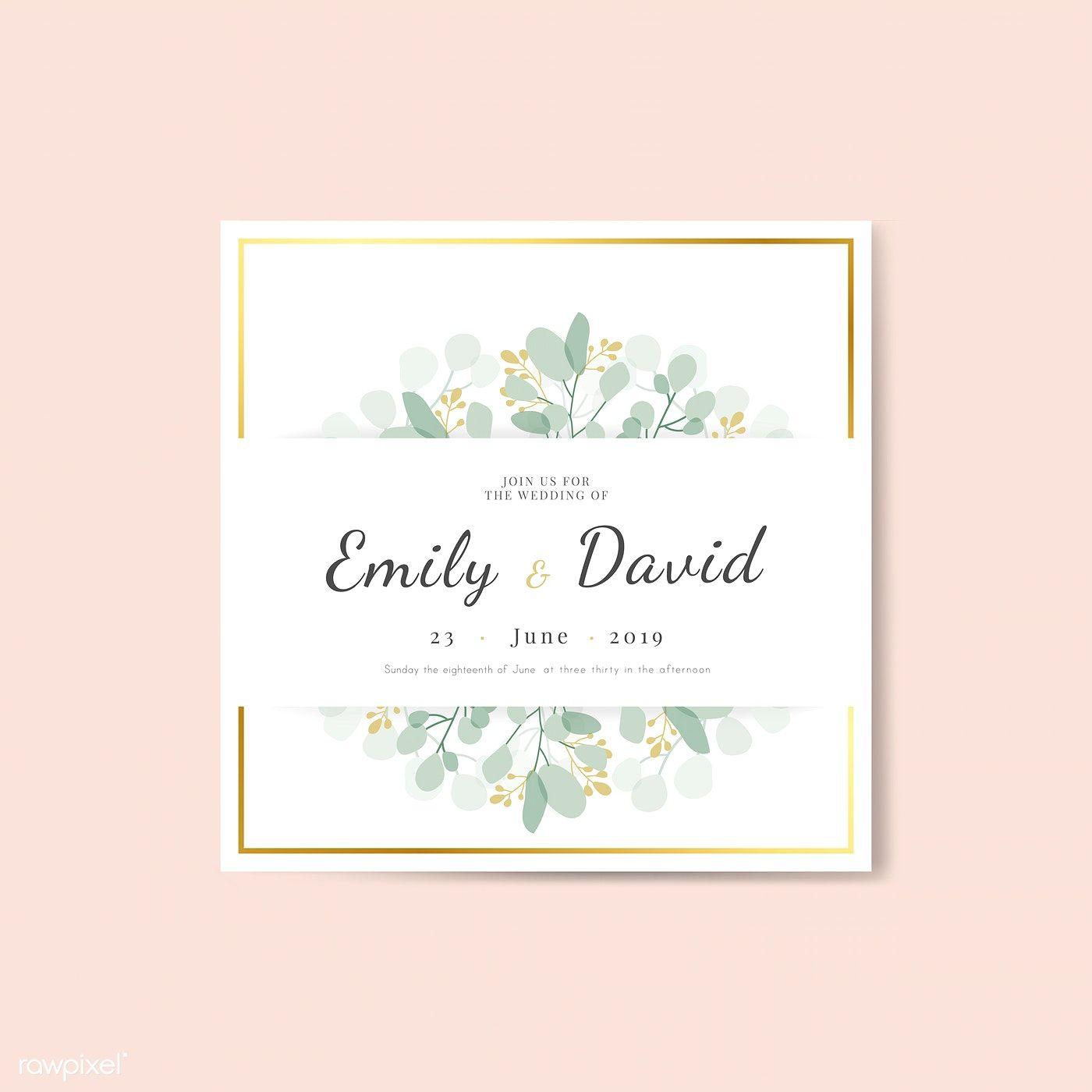 Floral wedding invitation square card template vector  premium