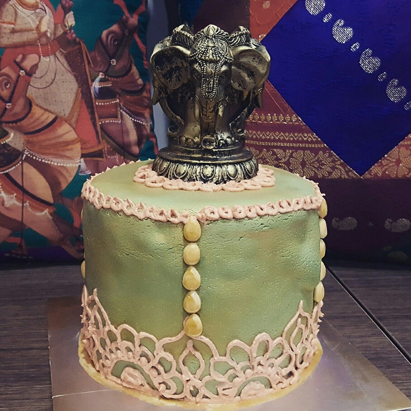 Fondant Indian elephant themed cake for a bangle ceremony Bakes
