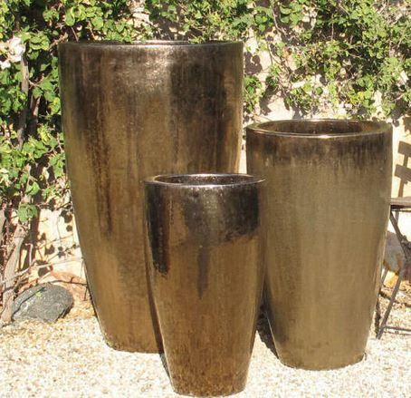 Tall Cone Planters Metallic Gold Planters Gold Planter Tall Planters