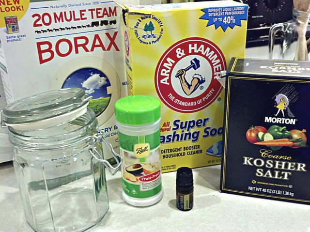 Make your own dishwasher detergent/scouring powder + other great cleaning tips/recipes from this website...